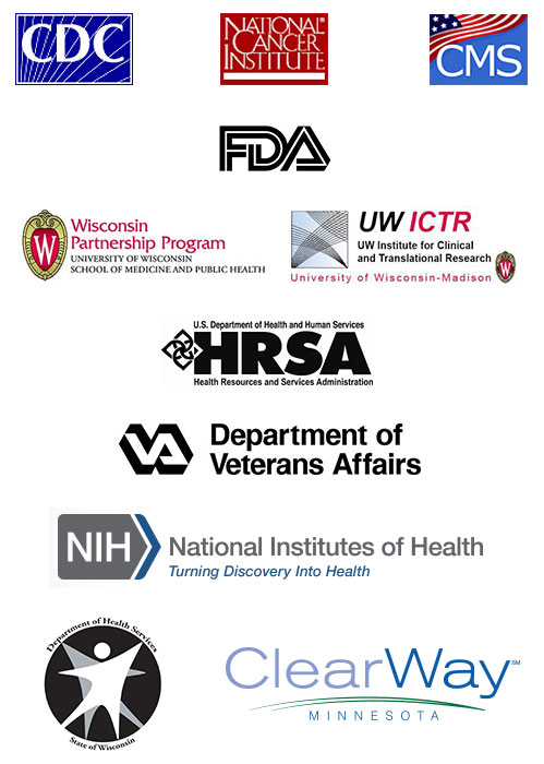CDC, NCI, CMS, FDA, Wisconsin Partnership Program, UW ICTR, HRSA, VA, NIH, DHA and ClearWay Minnesota