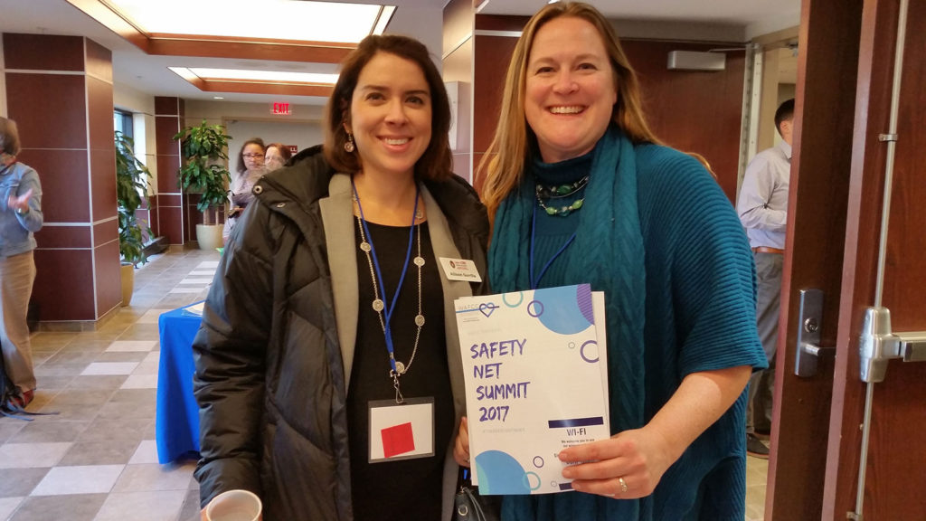 UW-CTRI Outreach Specialist Allison Gorrilla (left), with Katherine Gaulke, Executive Director of the Wisconsin Association of Free and Charitable Clinics, after her presentation.