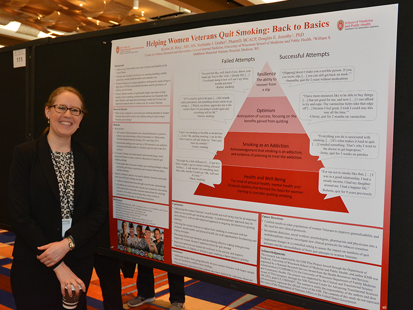 UW-CTRI Researcher Kristin Berg at SRNT presented research on helping women veterans to quit smoking.