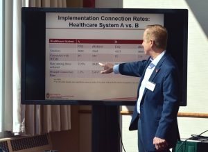 UW-CTRI Director Dr. Michael Fiore presents the rates at which two clinics referred patients to the Wisconsin Tobacco Quit Line via eReferral or fax.Photo by Shelin Xu