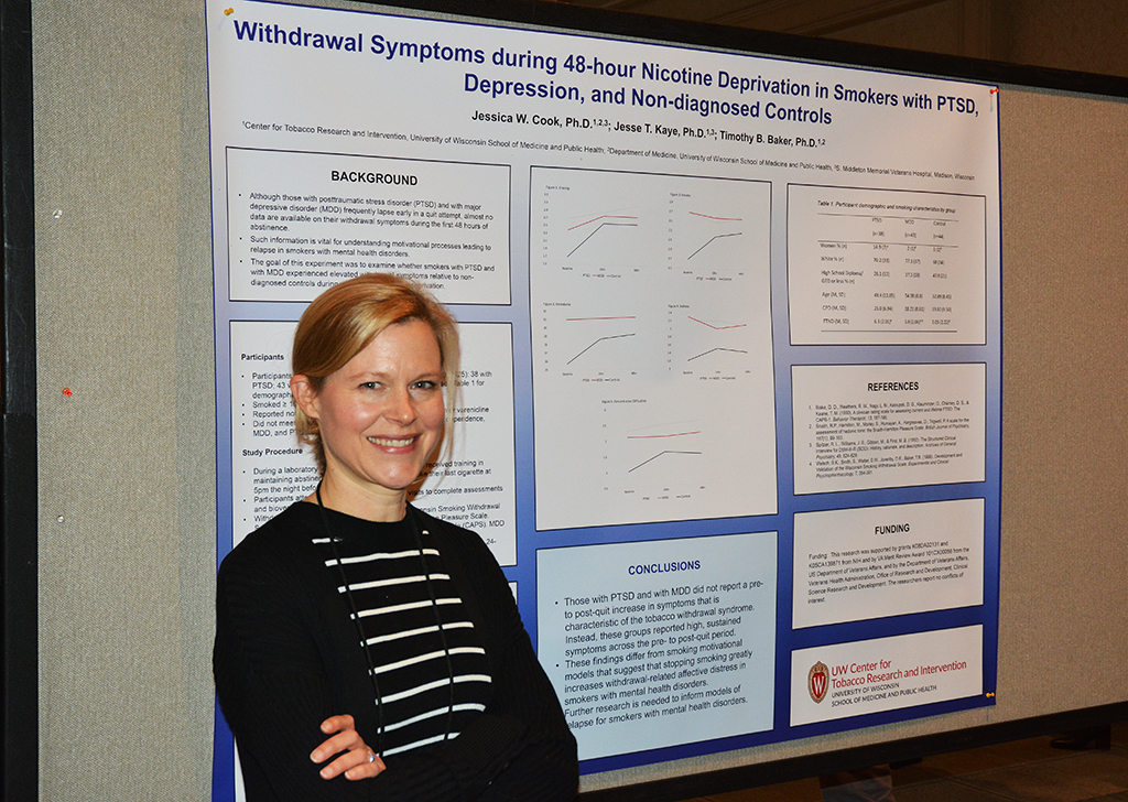 Dr. Jessica Cook presents her poster at SRNT.
