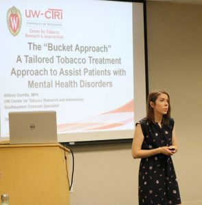 UW-CTRI Regional Outreach Specialist Allison Gorrilla explains the Bucket Approach to tobacco treatment at a training in West Allis.