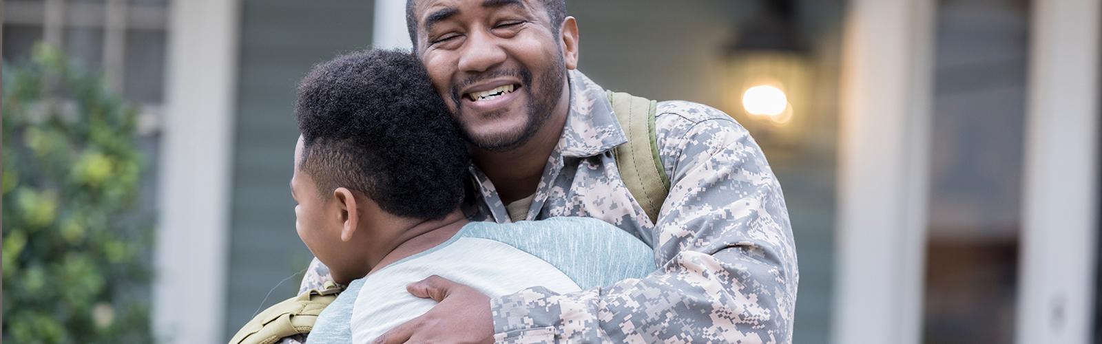 Veteran hugs son