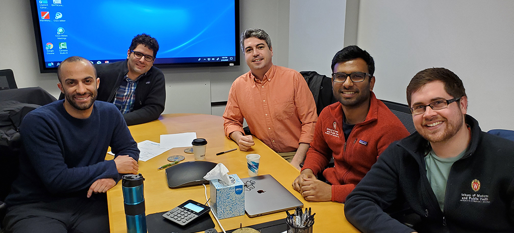 From left: Fourth-year medical students Xavier Al-Mateen, Reza Zarinshenas, Patrick O'Donnell, Prashanth Prabakaran and Andrew Velic shared what they learned at UW-CTRI.