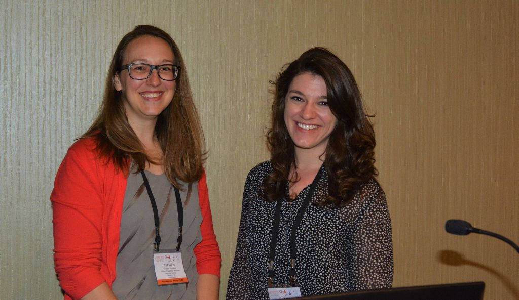 Kirsten Webster (left) and Elana Brubaker, researchers representing UW-CTRI and the VA in Madison, stepped up to moderate a symposium at SRNT in New Orleans when other researchers couldn't attend.