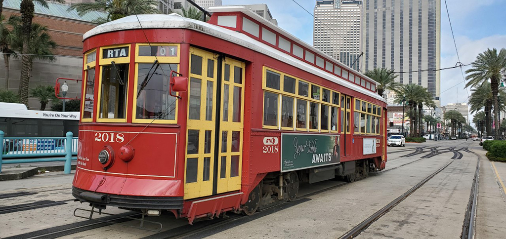 A trolley in New Orleans awaited riders