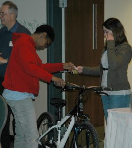 A lucky winner gets a new bike
