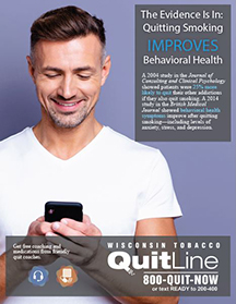 Behavioral health & Wisconsin Tobacco Quit Line - man