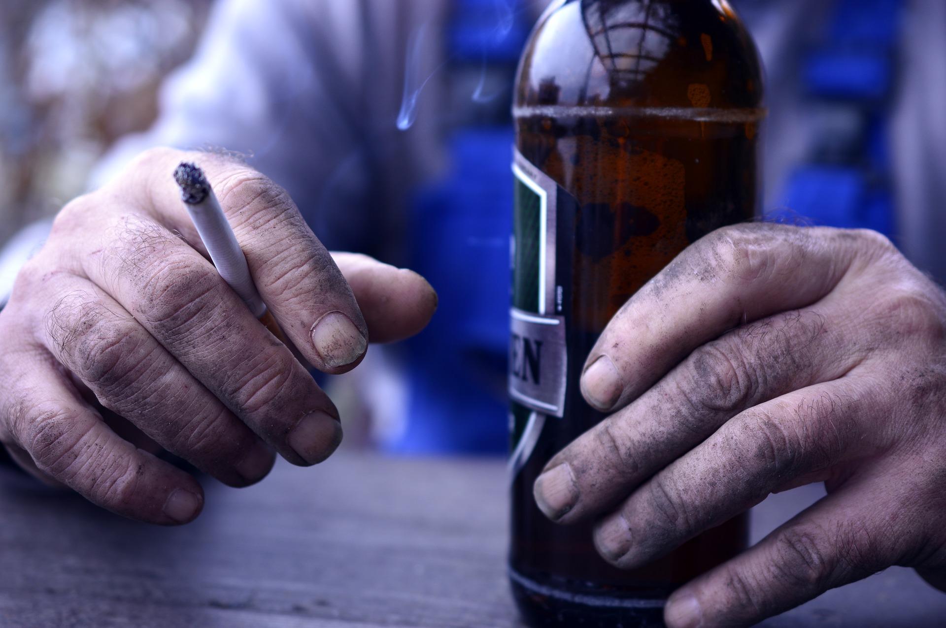 Beer, cigarette, dirty hands